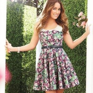 LC Lauren Conrad Floral Pleated Cocktail Dress